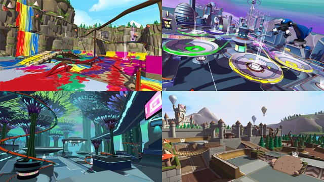 Some of the Scoot Parks in Crayola Scoot, Image: Outright Games