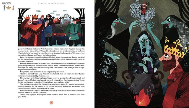Page Spread from A Stage Full of Shakespeare Stories, Image: Quarto Publishing