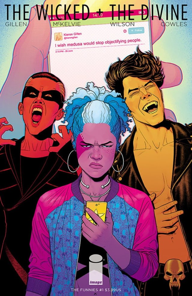 new comic cover of The Wicked and the Divine: The Funnies #1