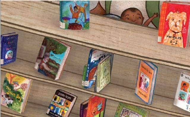 painting of a library display of picture books, each one a replica of a real book