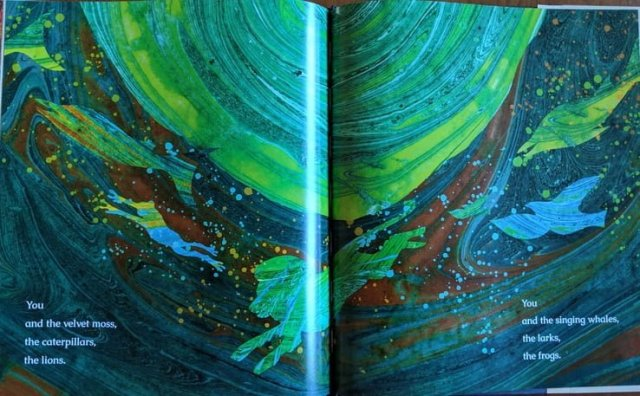 Swirly oil painting, colorful silhouettes of animals dancing around a planet
