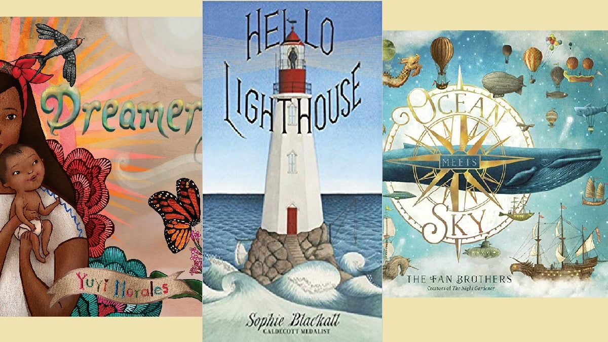 Book covers of Dreamers by Morales, Hello Lighthouse by Blackall, and Ocean Meets Sky by Fan