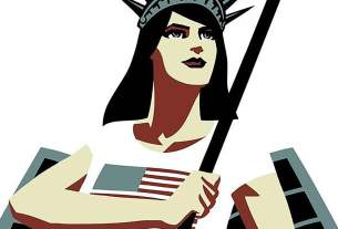 White woman with long black hair in a white t-shirt with an American flag holds a flag pole