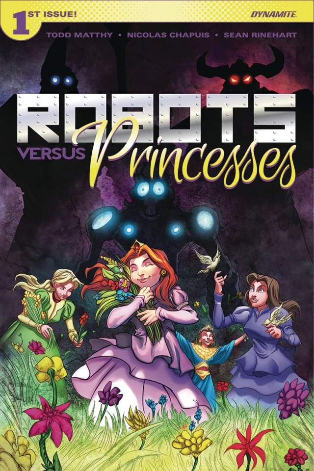 cover of comic Robots vs Princesses with dark, angular robotic figures behind fairy tale princesses