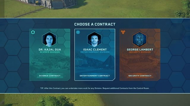 The Contract Selection Screen, Image: Sophie Brown