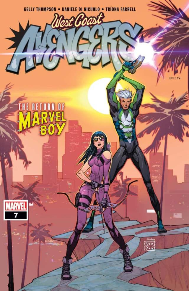 Kate Bishop stands in purple behind Marvel Boy in green-and white