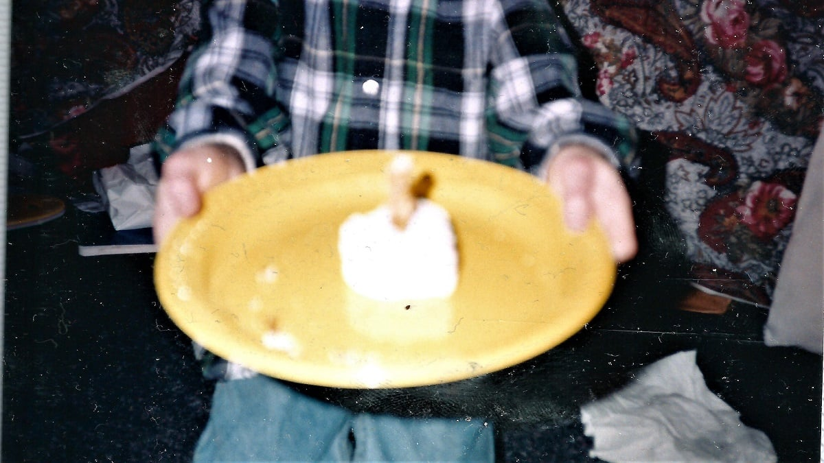 Child holds a plate to the camera that contains a blurry snack cake with pretzels sticking out of the top