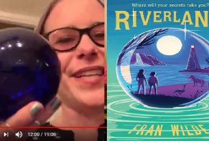 Fran Wilde holds a blue glass ball, screenshot from the interview in the post; the cover of Riverland