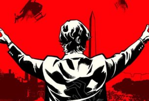 black and white illustration of a man's back with his arms raised on a red background