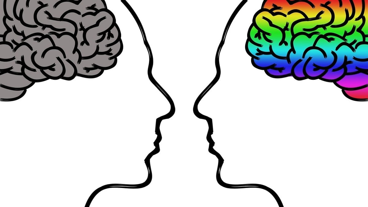 Two faces in profile, brains inside, one gray, one rainbow