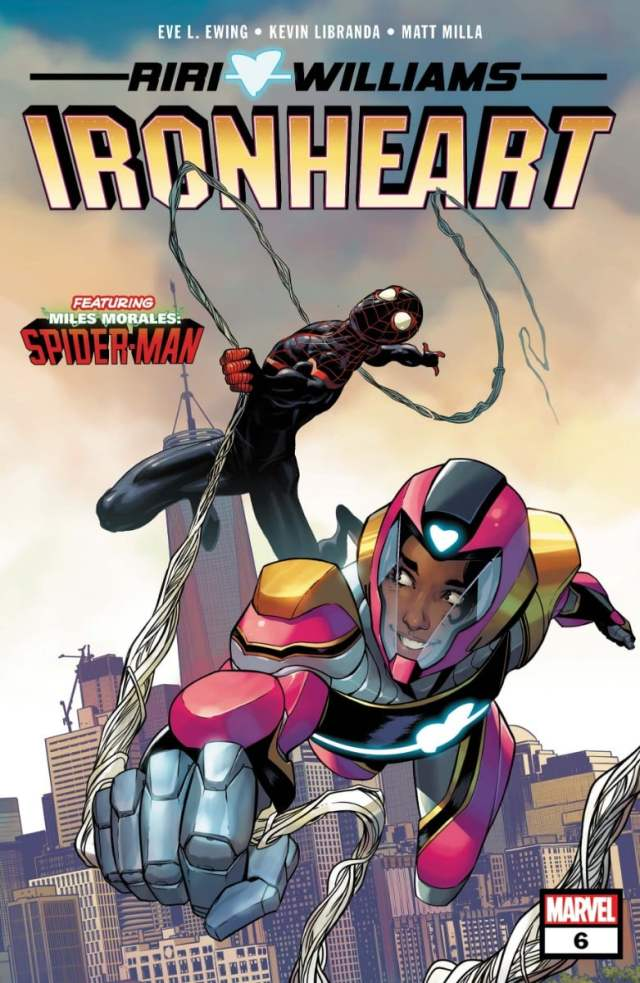 Ironheart and Spider-Man chase each other through the New York skyline