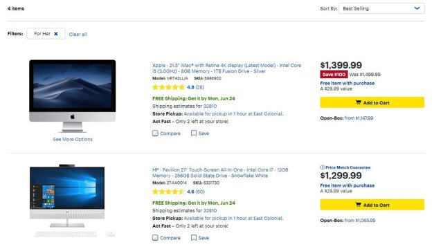 Options while filtering For Her. \ Image: Dakster Sullivan, screenshot from BestBuy.com