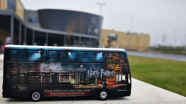 Corgi Warner Bros. Studio Shuttle Bus Model outside the Studio Tour, Image: Luke Austin