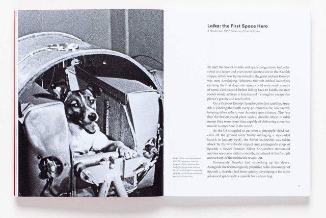 Sample Page from Space Dogs Showing Laika, Image: Laurence King Publishing