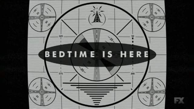 "Old fashioned TV signoff card reading ""Bedtime is here"""