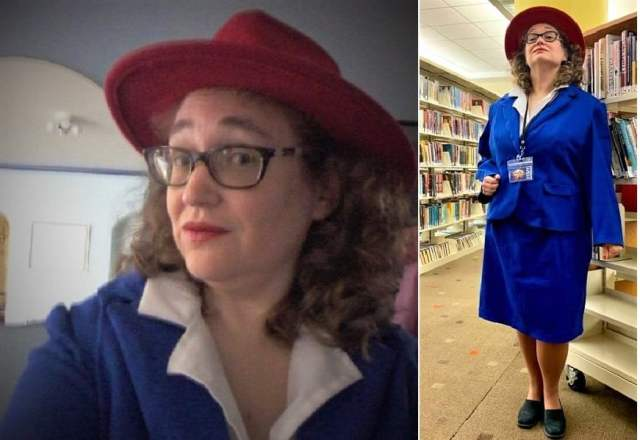 the author dressed as Peggy Carter