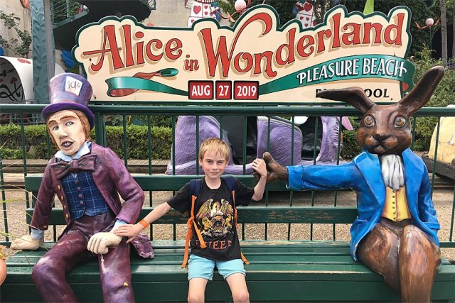 The Alice in Wonderland Bench at Blackpool Pleasure Beach, Image: Sophie Brown