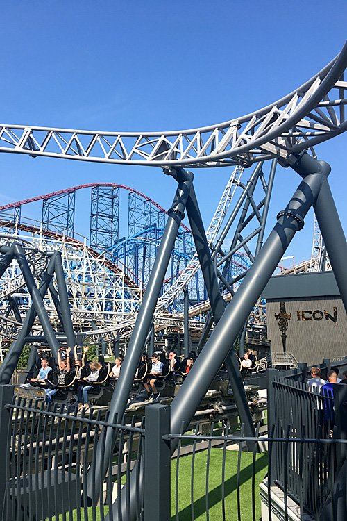 Thrill Rides at Blackpool Pleasure Beach, ICON in Foreground with the Big Dipper, Infusion, and the Big One Behind, Image: Sophie Brown