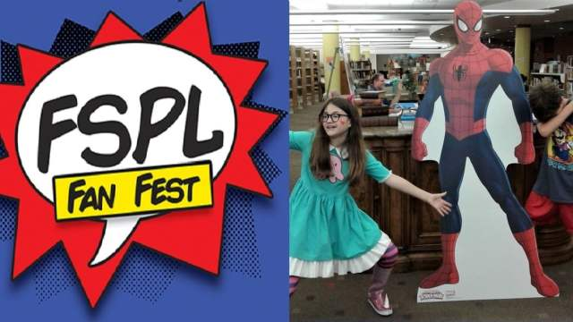 "Comic style logo reads ""FSPL Fan Fest""; two tweens pose dramatically by a life-sized cardboard cutout of Spider-Man"