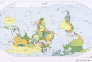 Map of the world with South at the top