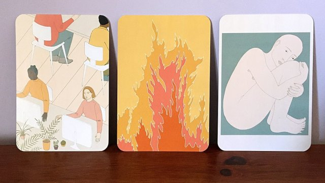 Being at Work, Fire, and Feeling Trapped Cards, Image Sophie Brown