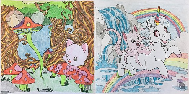 Tentacle Kitty Coloring Examples