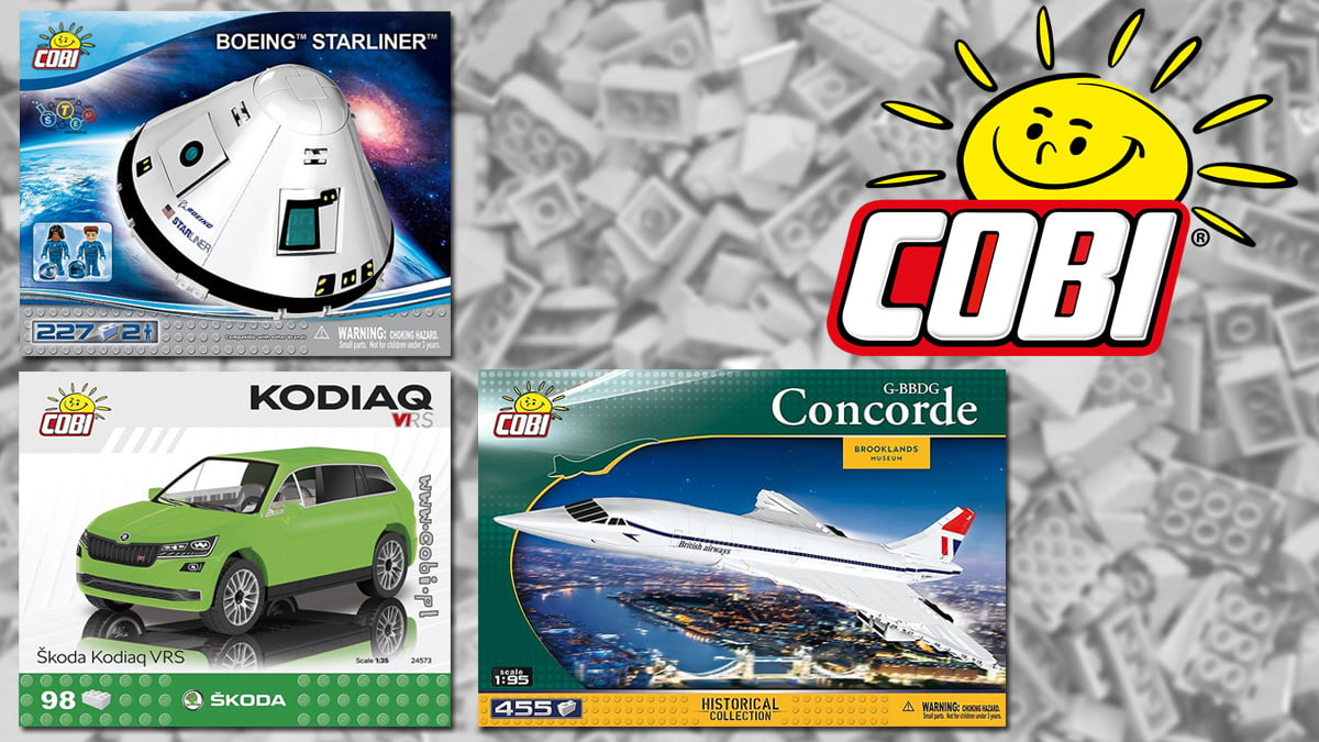 COBI Toys, Background Image by Iris Hamelmann from Pixabay, Logo and Box Art Images by COBI