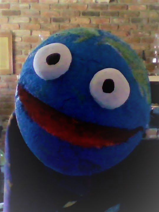 globe puppet with big eyes