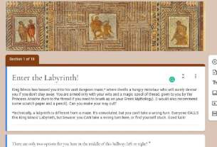 """Editing page of a google form titled """"Enter the Labyrinth!"""" with ancient Greek mosaic of The Labyrinth as a header picture and an introduction to the escape room puzzle that follows"""