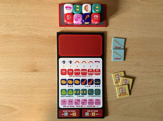 Player Area Set Up for a New Game of Sushi Roll, Image Sophie Brown