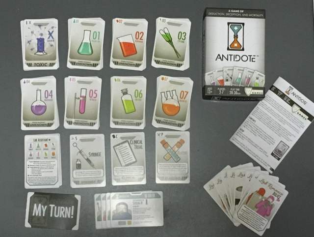 Antidote card game components