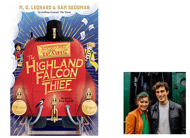 The Highland Falcon Thief, Cover Image Macmillan Children's, Author Image MG Leonard and Sam Sedgman