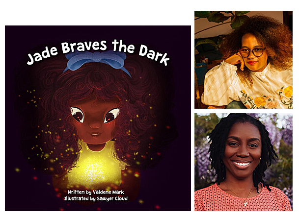 Jade Braves the Dark Cover Image Sugar Apple Books, Author Image Valdene Mark, Illustrator Image Sawyer Cloud