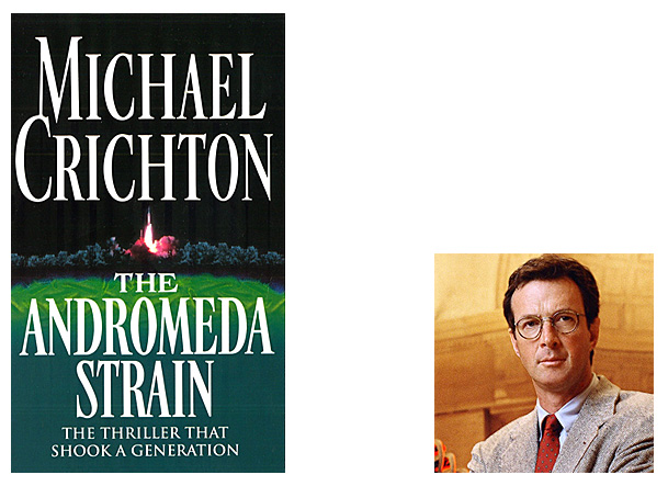 The Andromeda Strain Cover Image Arrow, Author Image Michael Crichton