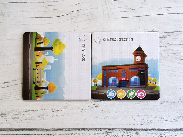 The two Starter Tiles in position for a new game of Streets, Image Sophie Brown