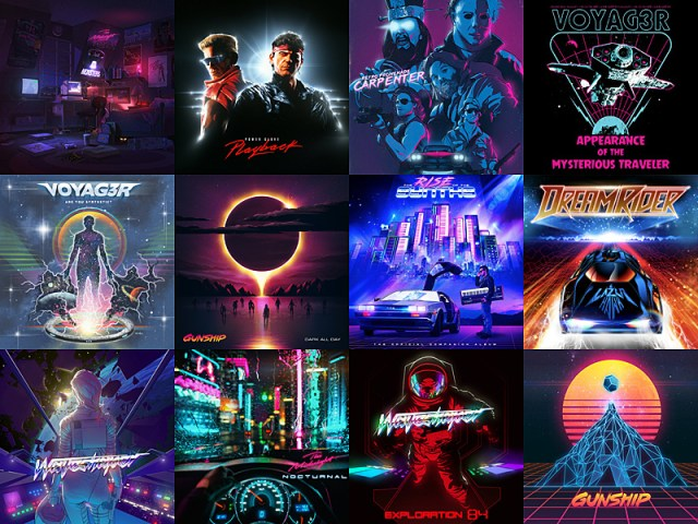Synthwave Album Art, Images Gunship, Waveshaper, Power Glove, Retro Promenade, Voyag3r, Lazer Hawk, The Midnight