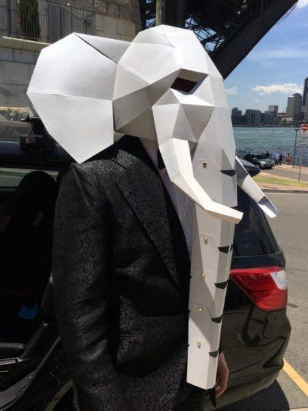 DIY cardboard mask of elephant for Carnivale