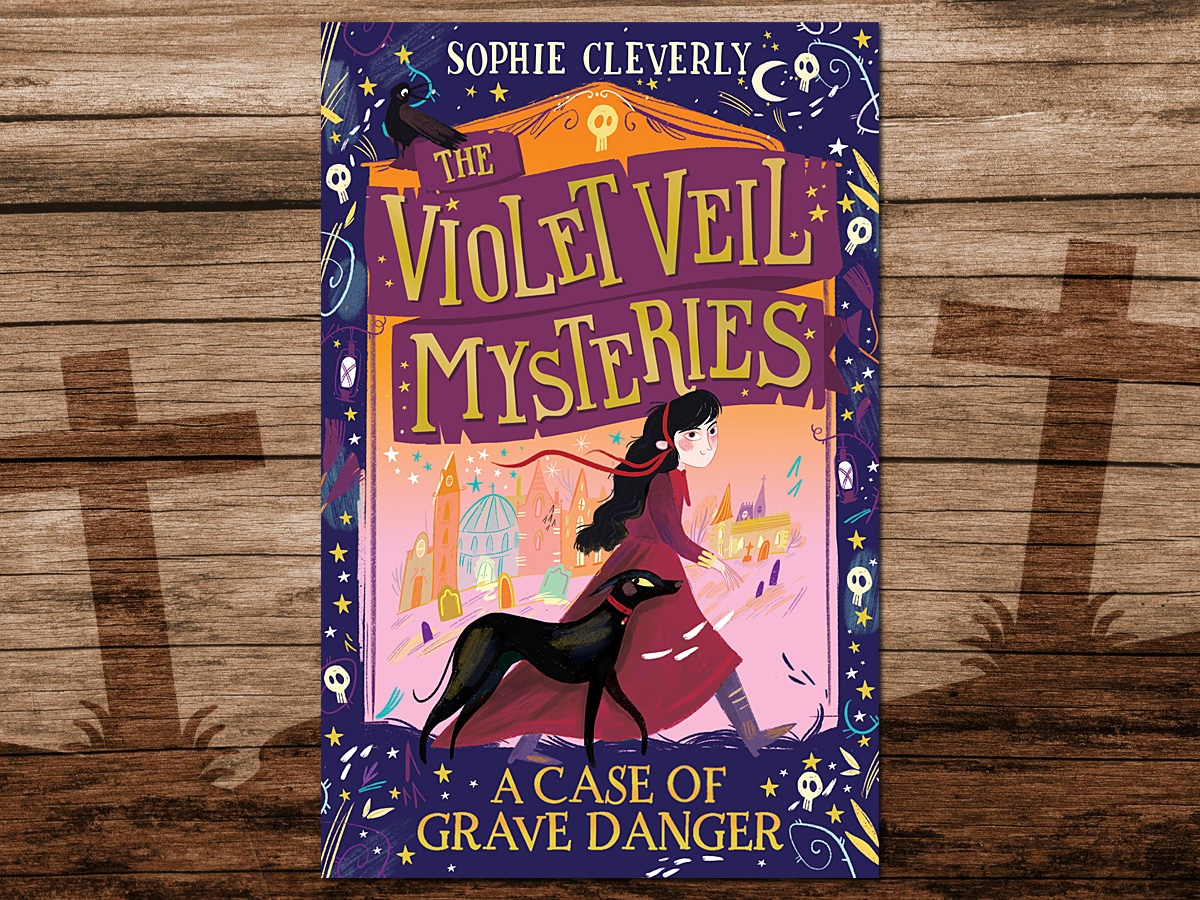 The Violet Veil Mysteries, A Case of Grave Danger, Cover Image HarperCollins, Background Image by Michael Schwarzenberger from Pixabay, Tombstones Image by OpenClipart-Vectors from Pixabay