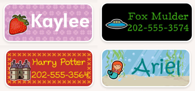 My Nametags Labels for Fictional Characters