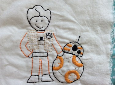 Star Wars The Force Awakens Poe Dameron BB8 hand embroidery. Download the free printable pattern.