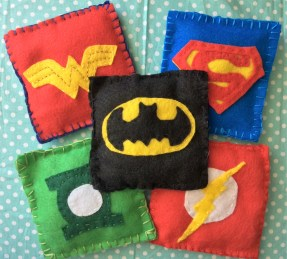 Free Pattern for DC Superhero Beanbags- The Flash, Batman, Wonder Woman, Superman and Green Lantern!
