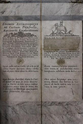 The inscription on the gnomon obelisk