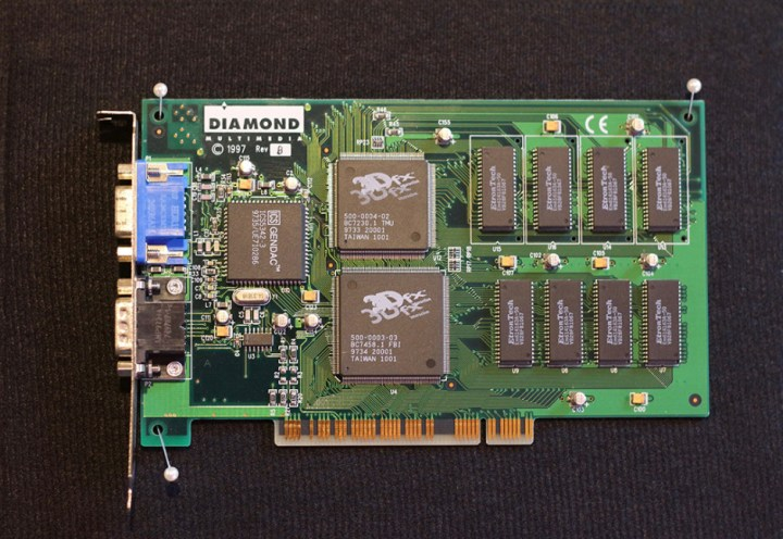 "Diamond Multimedia's ""Monster3D"", running the 1st generation 3Dfx Voodoo chipset."