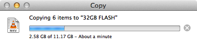 Writing 11GB in about 90 seconds.