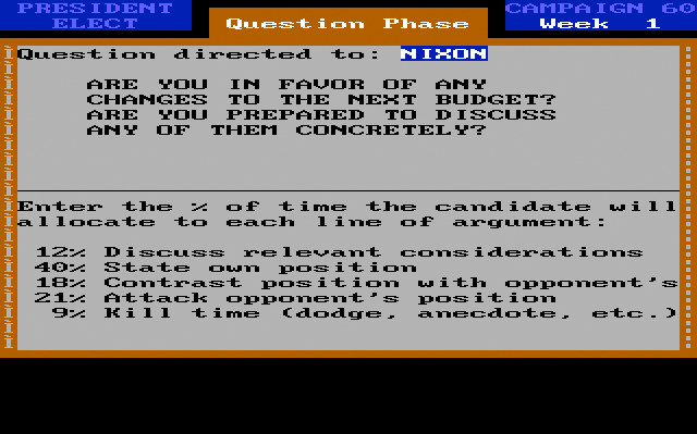 President Elect '88, debate screen.
