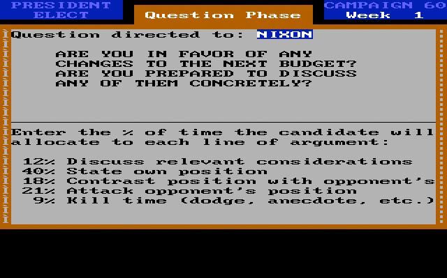 President Elect '88, debate screen.