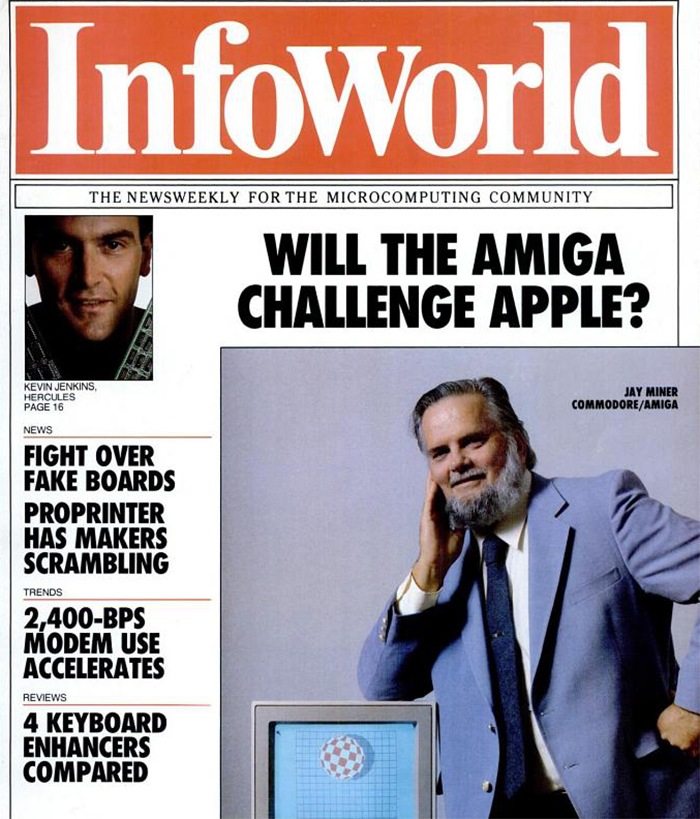 Jay Miner with his Amiga computer, InfoWorld Magazine - August 5, 1985.