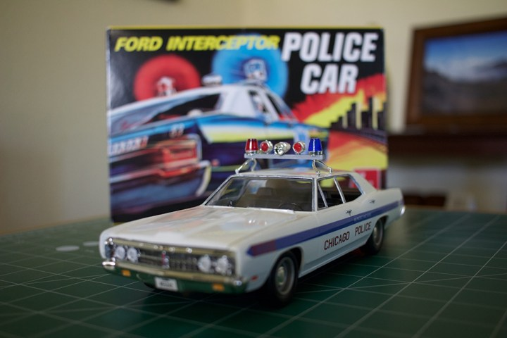 """AMT's completed """"Ford Intercepter Police Car"""" kit."""