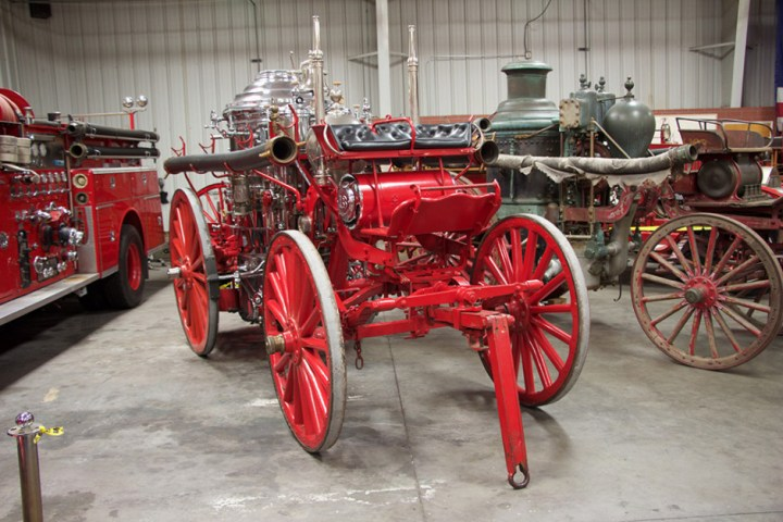 A 1907 American-LaFrance horse-drawn steam fire engine.