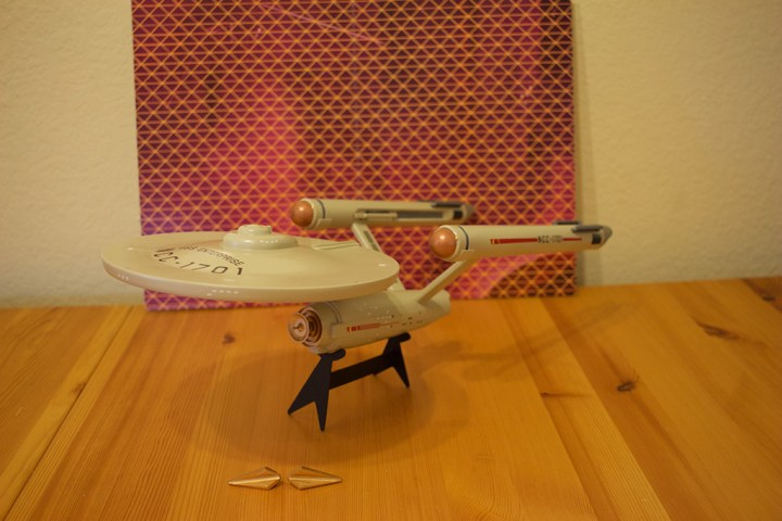 The USS Enterprise model, the Tholian ships, and the Tholian Web background.